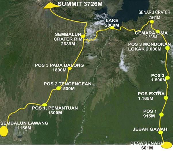 Rudy Trekker Trekking Route