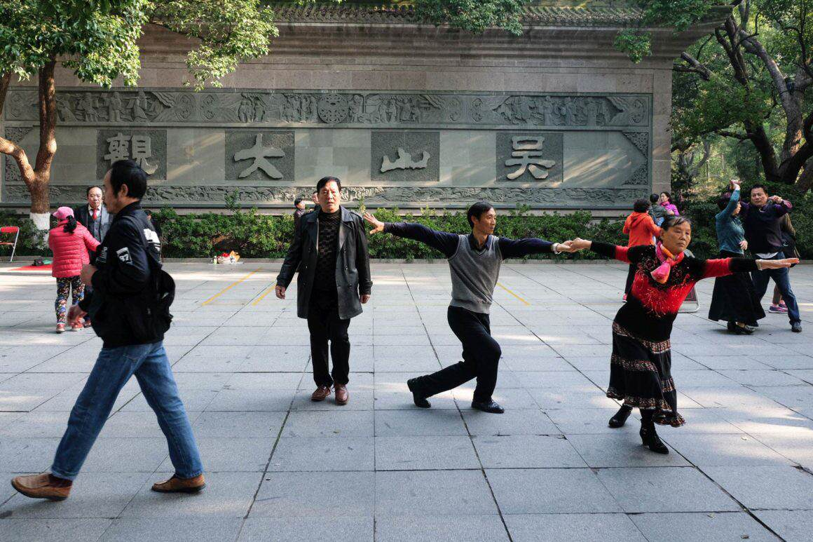 Early morning dance Hangzhou China