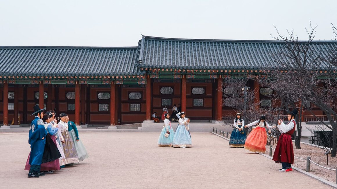 Hanbok Fotokulisse Gyeongbokgung Palast Seoul