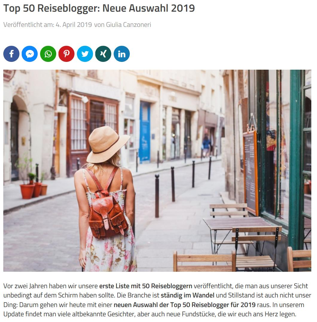 Escapio Top50 Reiseblogger